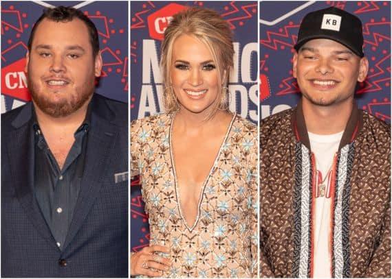 Luke Combs, Carrie Underwood, Kane Brown; Photo by Andrew Wendowski