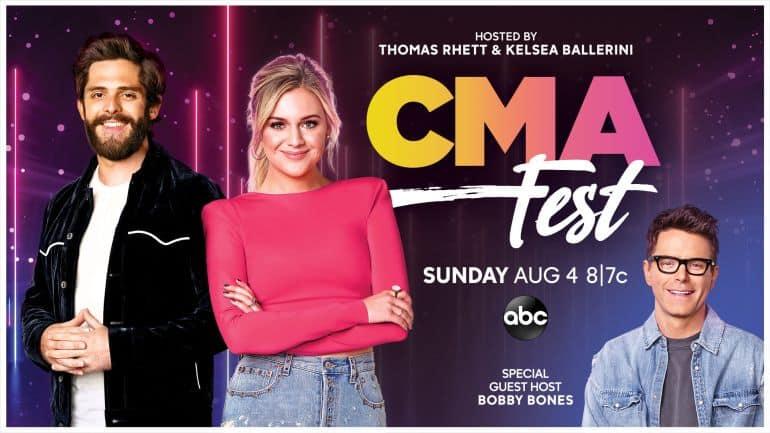 Thomas Rhett, Kelsea Ballerini, Bobby Bones; Photo Courtesy CMA-ABC