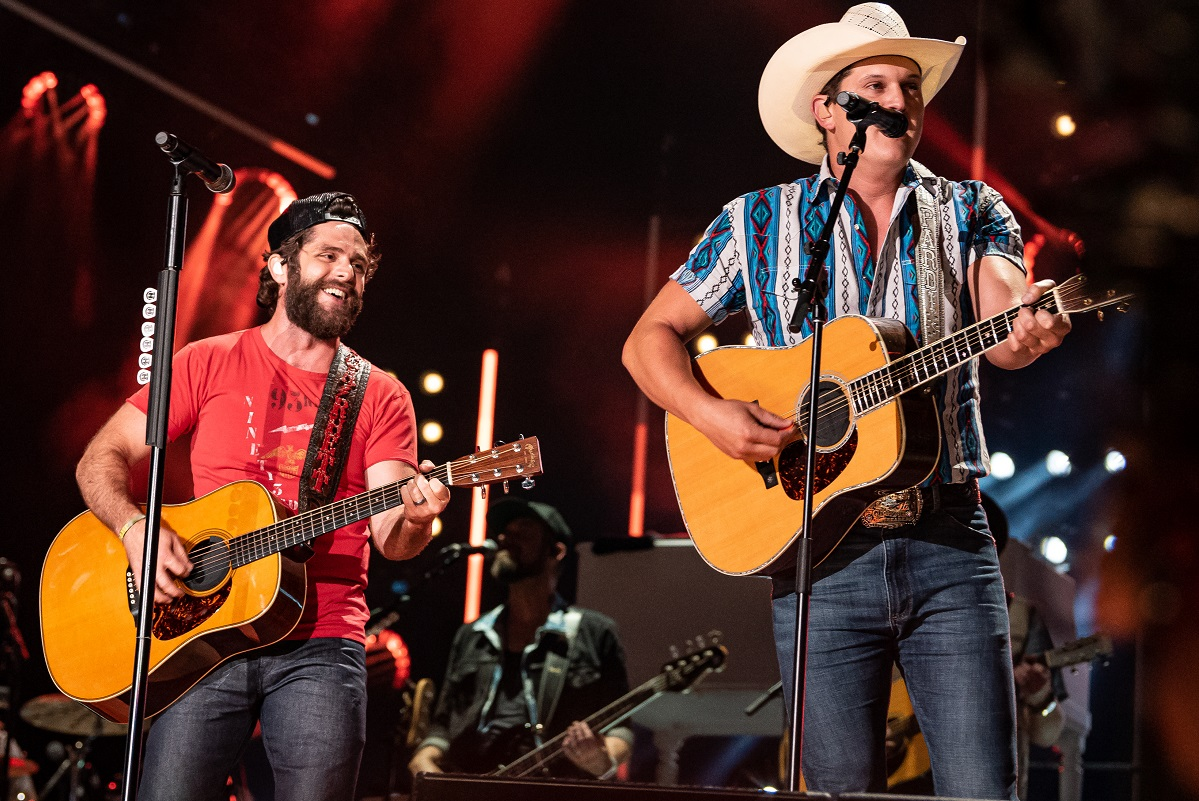 Thomas Rhett with Jon Pardi; Photo by Andrew Wendowski
