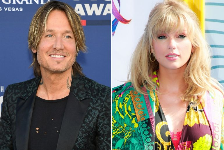 Keith Urban; Photo by Ethan Miller/Getty Images, Taylor Swift; Photo by Photo by Rich Fury/Getty Images