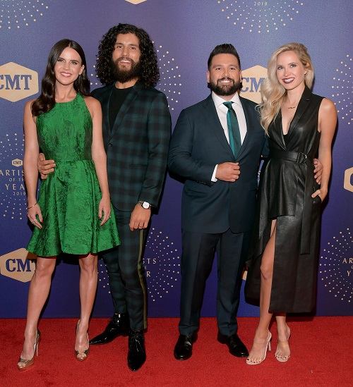 Dan Smyers and Shay Mooney of Dan + Shay with Abby Law and Hannah Billingsley; Photo by Jason Kempin/Getty Images for CMT/Viacom
