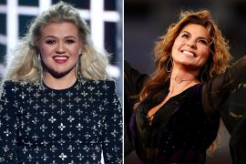 Kelly Clarkson; Photo by Ethan Miller/Getty Images, Shania Twain; Photo by Clive Brunskill/Getty Images