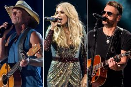 Kenny Chesney; Photo by Ethan Miller/Getty Images for dcp, Carrie Underwood; Photo by Andrew Wendowski, Eric Church; Photo by Andrew Wendowski