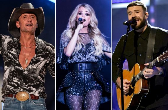 Tim McGraw; Photo by Andrew Wendowski, Carrie Underwood; Photo by Amanda Young, Sam Hunt; Photo by Jason Kempin/Getty Images for CMT/Viacom