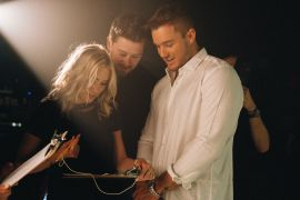 Adam Doleac, Colton Underwood and Cassie Randolph; Photo by Jessica Steddom