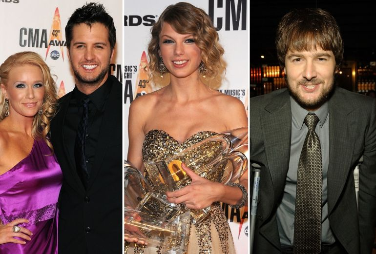 Luke Bryan and Wife; Photo by Frederick Breedon/Getty Images, Taylor Swift; Photo by Frederick Breedon/Getty Images, Eric Church; Photo by Edward Dougherty/Getty Images for Capitol Records