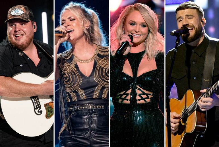 Luke Combs, Carrie Underwood; Photos by Andrew Wendowski, Miranda Lambert; Photo by Kevin Winter/Getty Images, Sam Hunt; Photo by Jason Kempin/Getty Images for CMT/Viacom