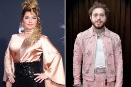 Shania Twain; Photo by Rich Fury/Getty Images, Post Malone; Photo by Neilson Barnard/Getty Images for The Recording Academy