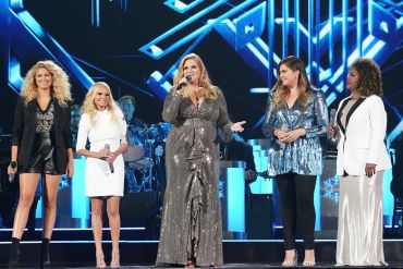 "Trisha Yearwood (center) performs ""Children Go Where I Send Thee"" with (L – R) Tori Kelly, Kristin Chenoweth, Hillary Scott and CeCe Winans; Photo by Donn Jones/CMA"
