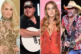 Carrie Underwood; Photo by Jason Kempin/Getty Images, Luke Combs; Photo by Andrew Wendowski, Ingrid Andress; Photo by Emma McIntyre/Getty Images for Billboard, Jason Aldean; Photo by David Becker/Getty Images