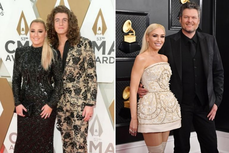 Gabby Barrett and Cade Foehner; Photo by Jason Kempin/Getty Images, Gwen Stefani and Blake Shelton; Photo by Frazer Harrison/Getty Images for The Recording Academy