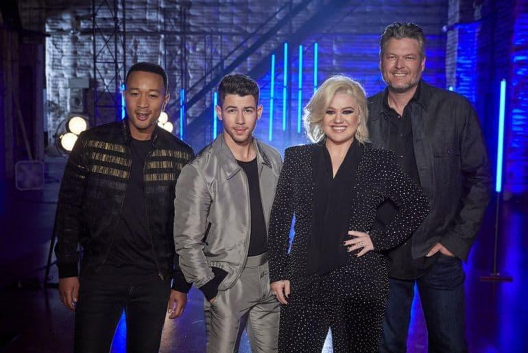 John Legend, Nick Jonas, Kelly Clarkson, Blake Shelton; Photo by: Trae Patton/NBC