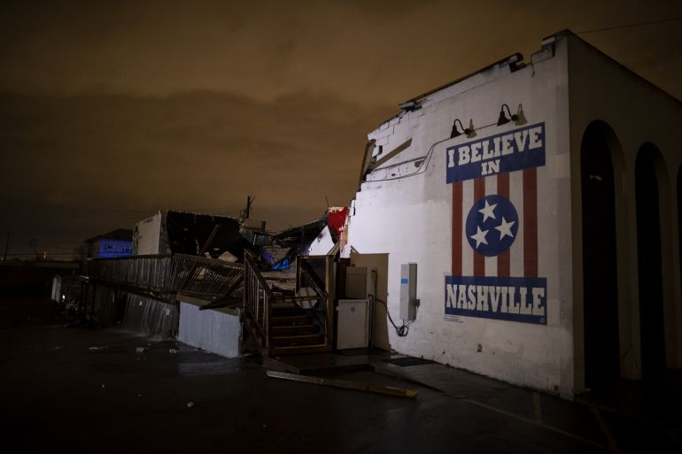 General view of a mural on heavily damaged The Basement East in the East Nashville neighborhood on March 3, 2020 in Nashville, Tennessee. A tornado passed through Nashville just after midnight leaving a wake of damage in its path including two people killed in East Nashville; Photo by Brett Carlsen/Getty Images