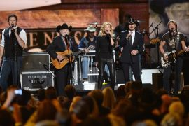 Blake Shelton, Willie Nelson, Faith Hill, Tim McGraw and Keith Urban; Photo by Jason Kempin/Getty Images