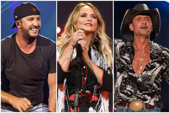 Luke Bryan; Photo by Andrew Wendowski, Miranda Lambert; Photo by Jason Kempin/Getty Images for Essential Broadcast Media, Tim McGraw; Photo by Ethan Miller/Getty Images