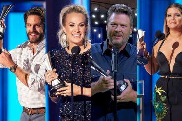 Thomas Rhett, Carrie Underwood, Blake Shelton and Maren Morris; Photo Courtesy of CBS