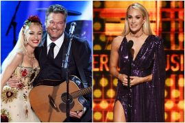 Gwen Stefani and Blake Shelton; Photo by Kevin Winter/Getty Images for The Recording Academy, Carrie Underwood; Photo by Kevin Winter/Getty Images for dcp