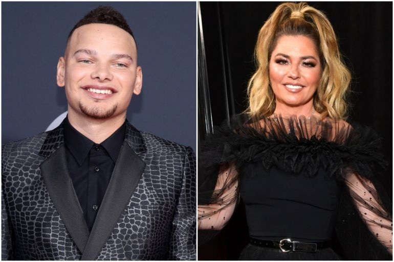 Kane Brown; Photo by Rich Fury/Getty Images, Shania Twain; Photo by Emma McIntyre/Getty Images for The Recording Academy