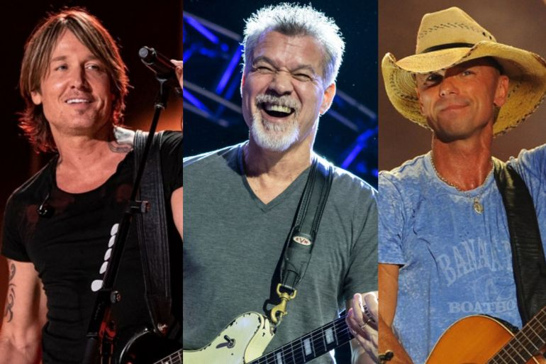 Keith Urban and Eddie Van Halen; Photo by Andrew Wendowski, Kenny Chesney; Photo by Erika Goldring/Getty Images for CMT