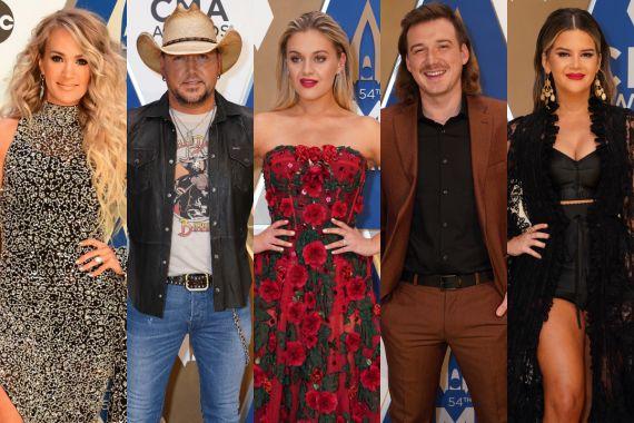 Carrie Underwood, Jason Aldean, Kelsea Ballerini, Morgan Wallen and Maren Morris; Photos Courtesy of CMA