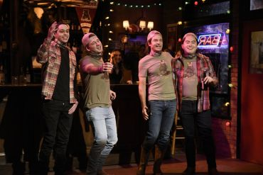 "Pete Davidson, musical guest Morgan Wallen, host Jason Bateman as future Morgan, and Bowen Yang as future Morgan during the ""Morgan Wallen Party"" sketch on Saturday, December 5, 2020 -- (Photo by: Will Heath/NBC)"