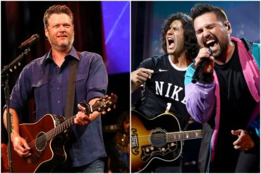 Blake Shelton; Photo by Terry Wyatt/Getty Images for Musicians On Call, Dan + Shay; Photo by Photo by Rich Fury-Getty Images for iHeartMedia