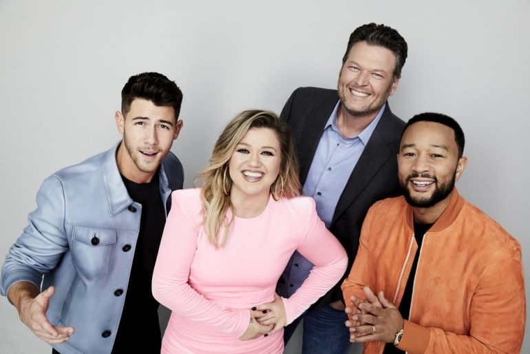 Nick Jonas, Kelly Clarkson, Blake Shelton, John Legend -- (Photo by: Art Streiber/NBC)