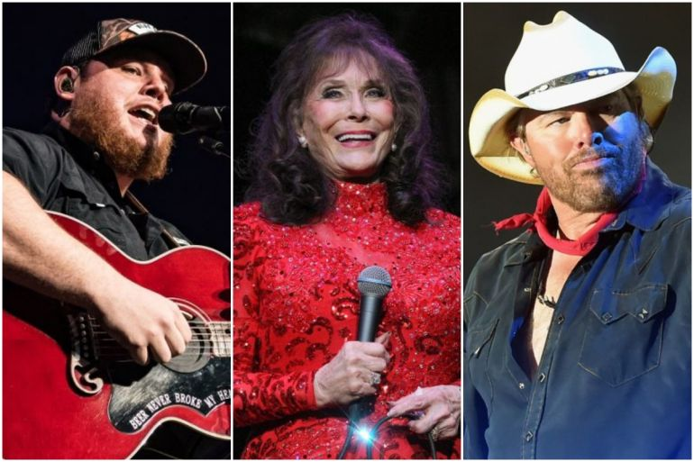 Luke Combs; Photo by Andrew Wendowski, Loretta Lynn; Photo by Terry Wyatt/Getty Images for Americana Music, Toby Keith; Photo by Rick Diamond/Getty Images for Country Thunder USA