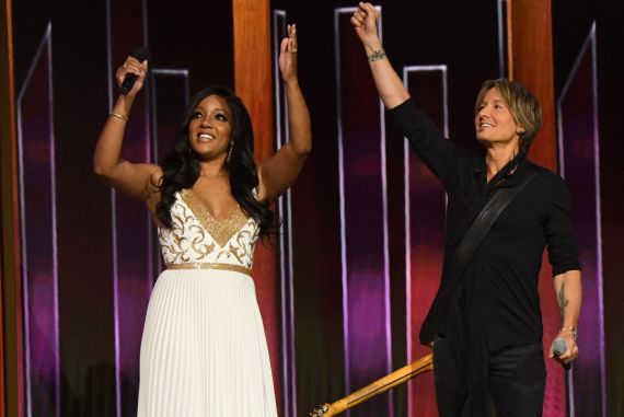 Mickey Guyton, Keith Urban; Photo by Kevin Mazur, Getty Images for ACM
