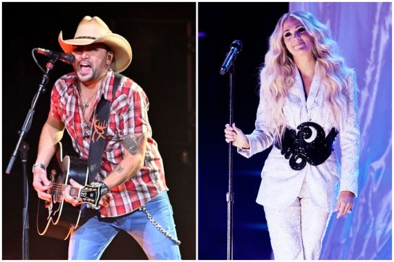 Jason Aldean; Photo by David Becker/Getty Images, Carrie Underwood; Photo by John Shearer/Getty Images