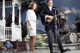 Johnny Cash and June Carter Cash with Marshall Grant, National Life Grand Ole Opry Syndicated TV Show, August 30, 1968, at the Ryman