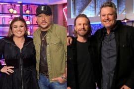 Kelly Clarkson, Jason Aldean, Dierks Bentley and Blake Shelton; Photos Courtesy of NBC/The Voice