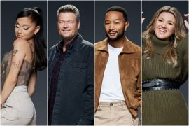 Ariana Grande, Blake Shelton, John Legend, Kelly Clarkson; Photos by Art Streiber/NBC