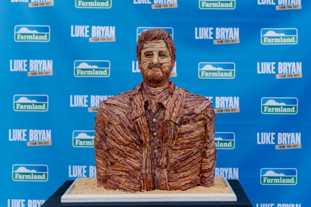 Luke Bryan bacon bust; Photo by Andy Manis/AP Images for Farmland