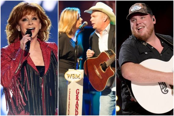 Reba;Photo by Kevin Winter/Getty Images, Trisha Yearwood and Garth Brooks; Photo by Chris Hollo, Grand Ole Opry, Luke Combs; Photo by Andrew Wendowski