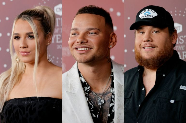 Gabby Barrett, Kane Brown, Luke Combs; Photos by Getty Images for CMT